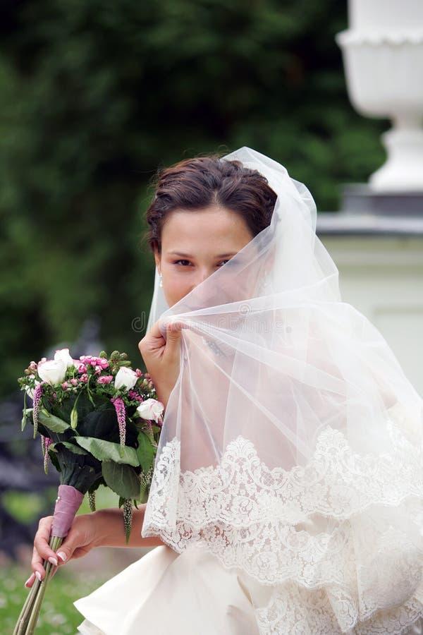 Noiva de sorriso no branco com véu fotografia de stock