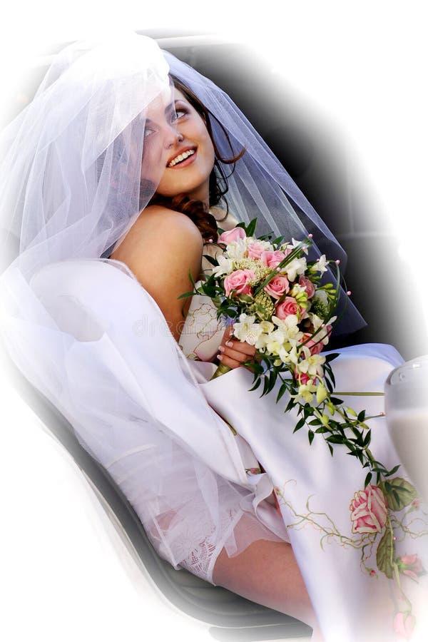 Noiva de sorriso no limo imagem de stock