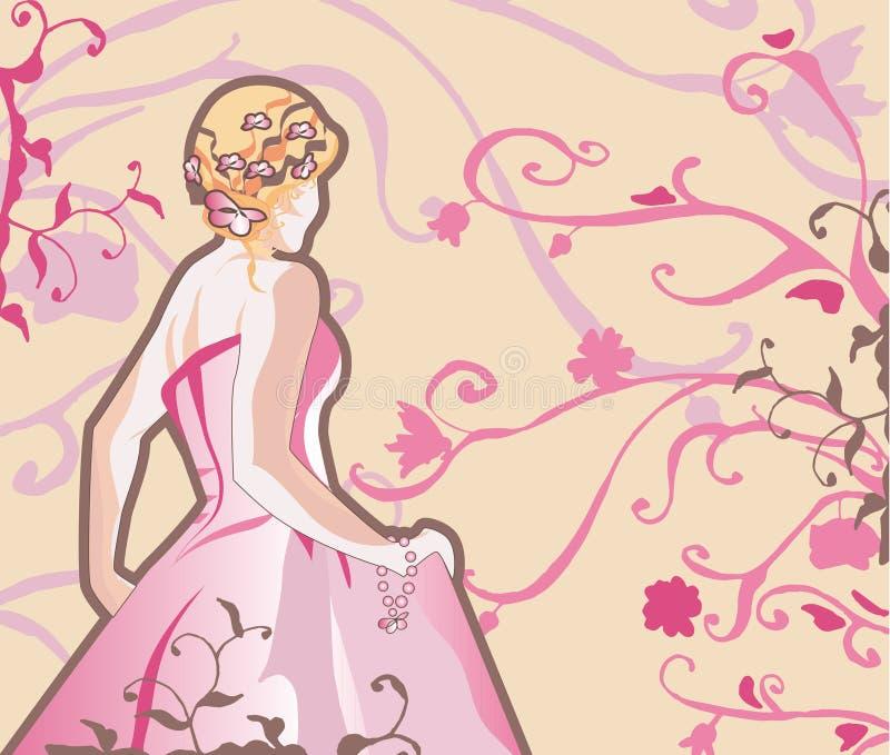 Noiva do vetor na cor-de-rosa ilustração royalty free