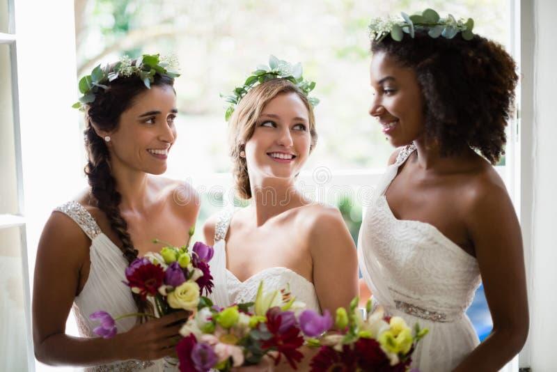 Noiva e damas de honra que estão com ramalhete fotos de stock royalty free