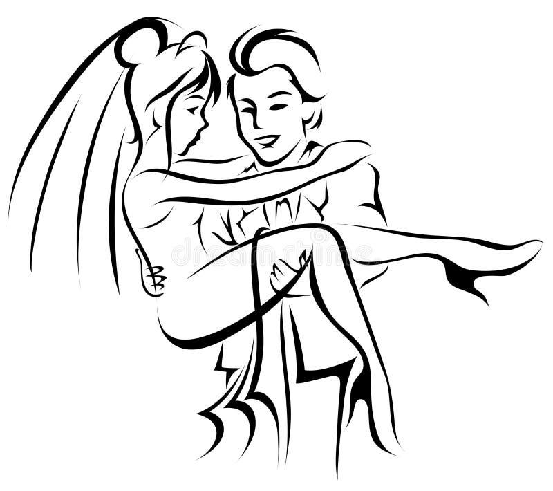 Noiva e noivo ilustração do vetor