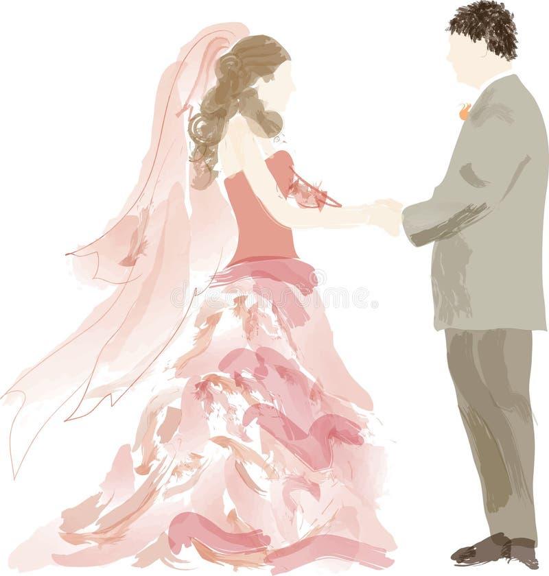 Noiva e noivo abstratos ilustração stock
