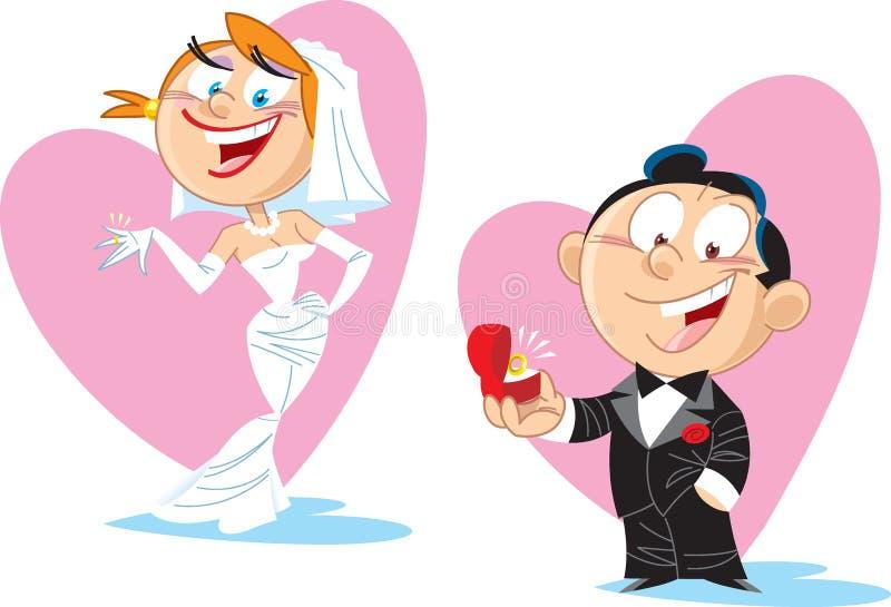 Noiva e noivo dos desenhos animados ilustração stock