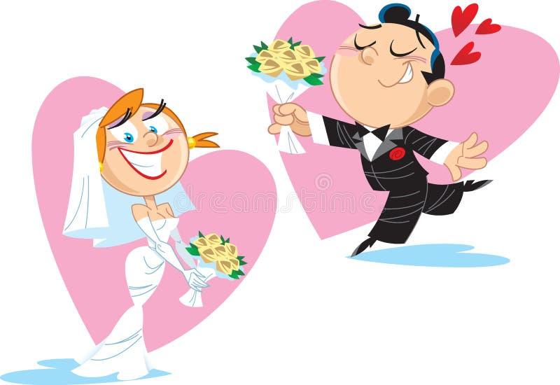 Noiva e noivo engraçados ilustração stock