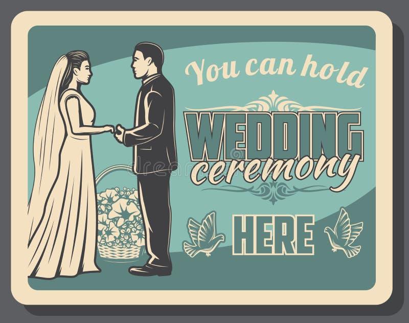 Noiva e noivo na cerim?nia de casamento uni?o ilustração stock