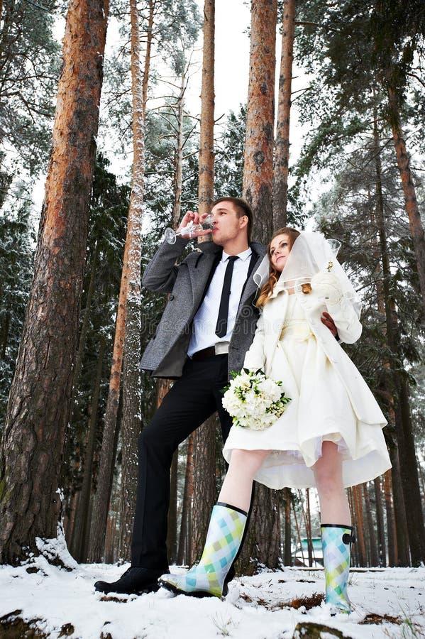 Noiva e noivo na floresta do inverno fotografia de stock royalty free