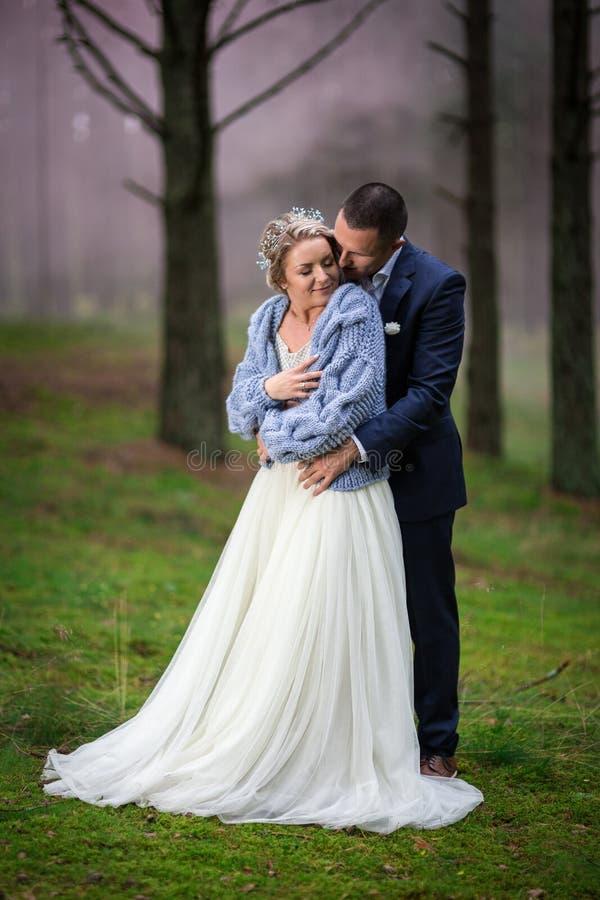 Noiva e noivo no dia do casamento imagem de stock