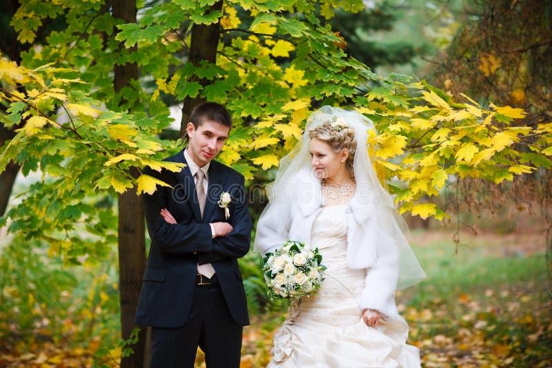 Noiva e noivo no outono foto de stock royalty free