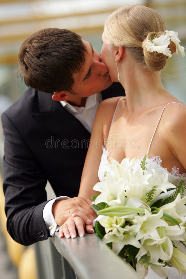 Noiva e noivo que beijam no amor imagem de stock royalty free