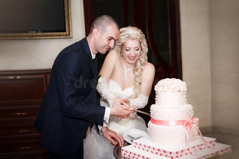 Noiva e noivo que cortam o bolo de casamento imagem de stock