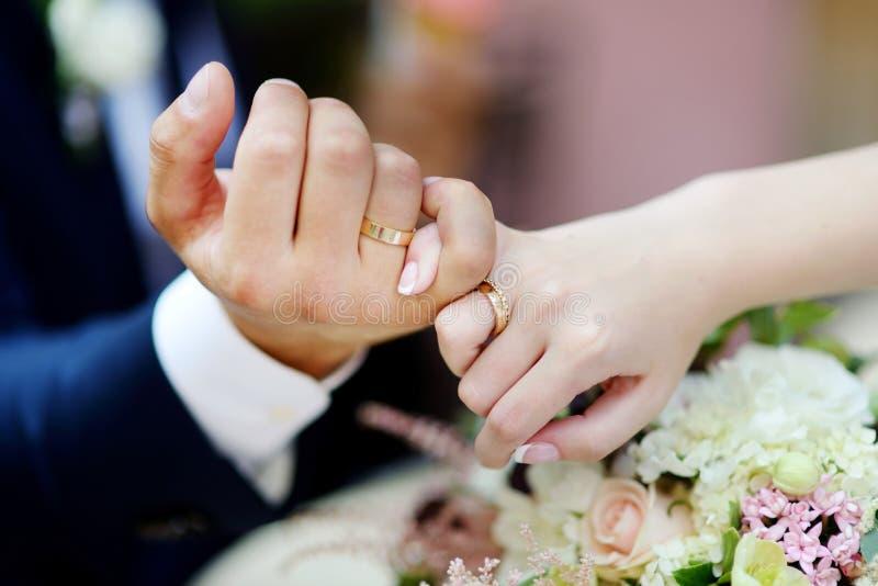 Noiva e noivo que prendem suas mãos imagens de stock