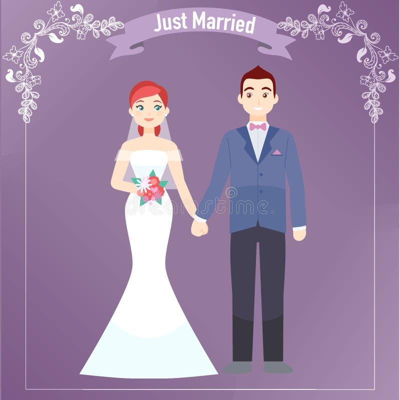 A noiva e o noivo ilustração do vetor