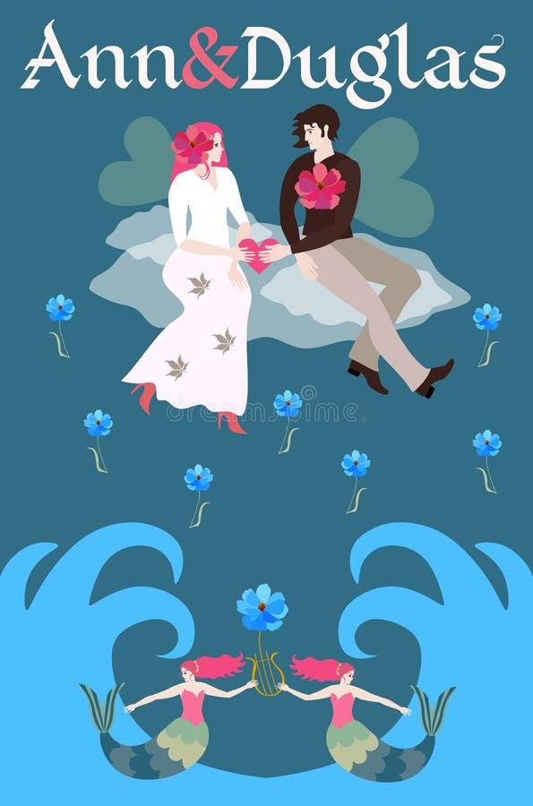 A noiva e o noivo com asas transparentes voam o assento em uma nuvem acima das ondas do mar Molde para o convite ao casamento ilustração royalty free