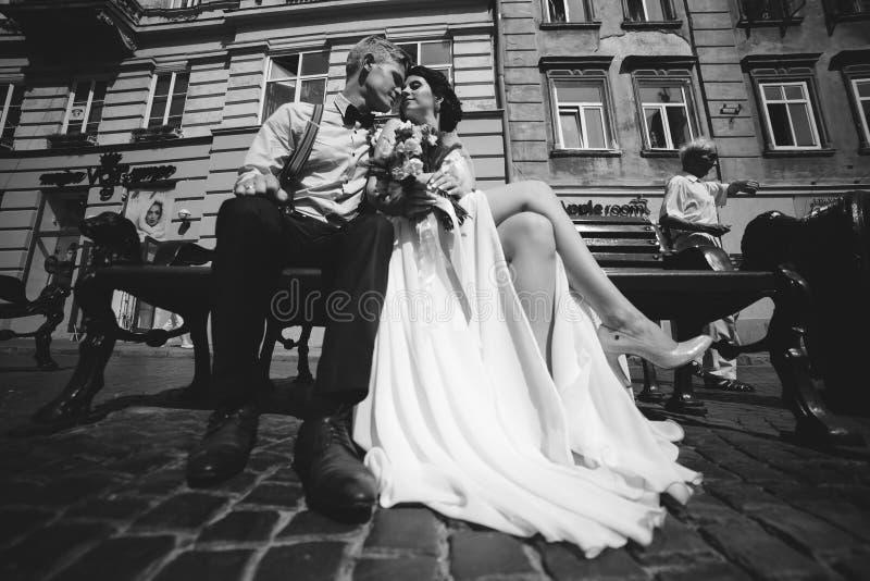 Download A Noiva E O Noivo Sentam-se No Banco Imagem de Stock - Imagem de holding, casado: 65577167