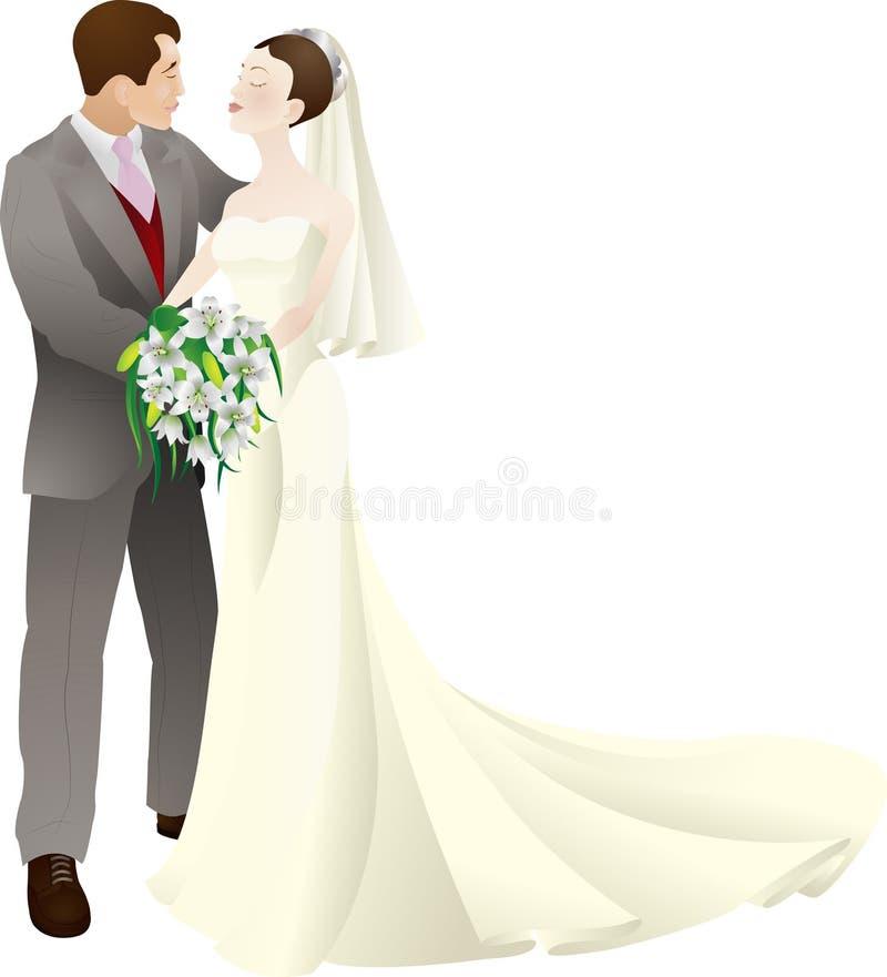 A noiva e o noivo vector a ilustração ilustração royalty free