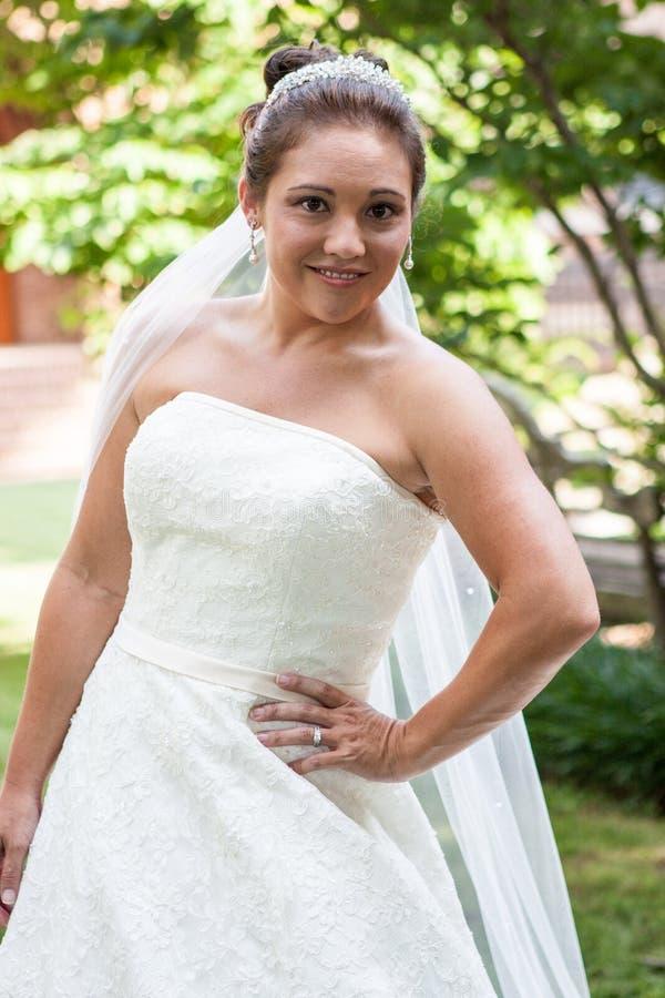 Noiva em um vestido de casamento fotos de stock royalty free