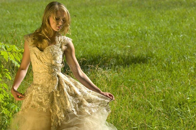 Noiva em um vestido de casamento colorido dourado imagem de stock