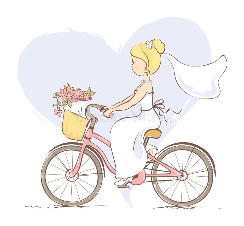 Noiva em uma bicicleta ilustração royalty free