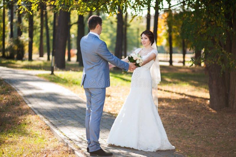 Noiva feliz, dança do noivo no parque verde, beijando, sorrindo, rindo amantes no dia do casamento Pares novos felizes no amor imagem de stock