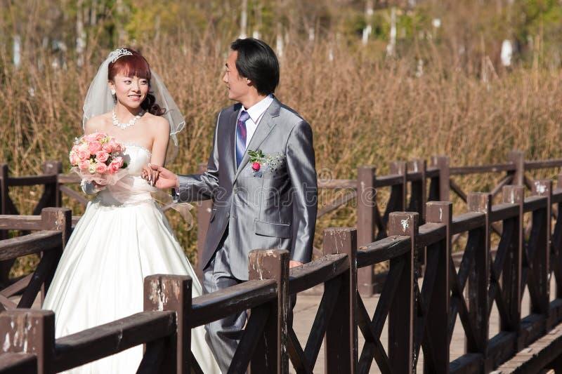 Noiva feliz e noivo que andam sobre a ponte (1) imagem de stock