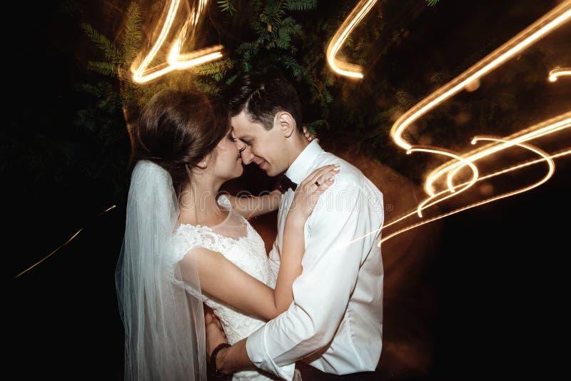 Noiva feliz elegante lindo e noivo à moda no fundo fotos de stock royalty free