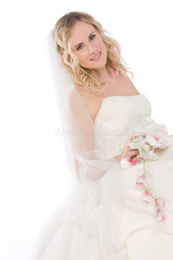 Noiva isolada no branco fotografia de stock