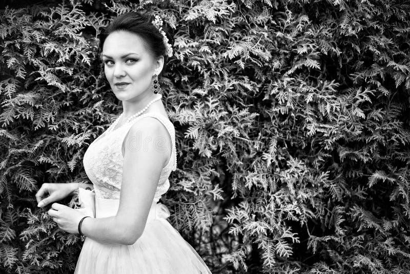 Noiva, menina no vestido branco no parque Rebecca 36 fotos de stock