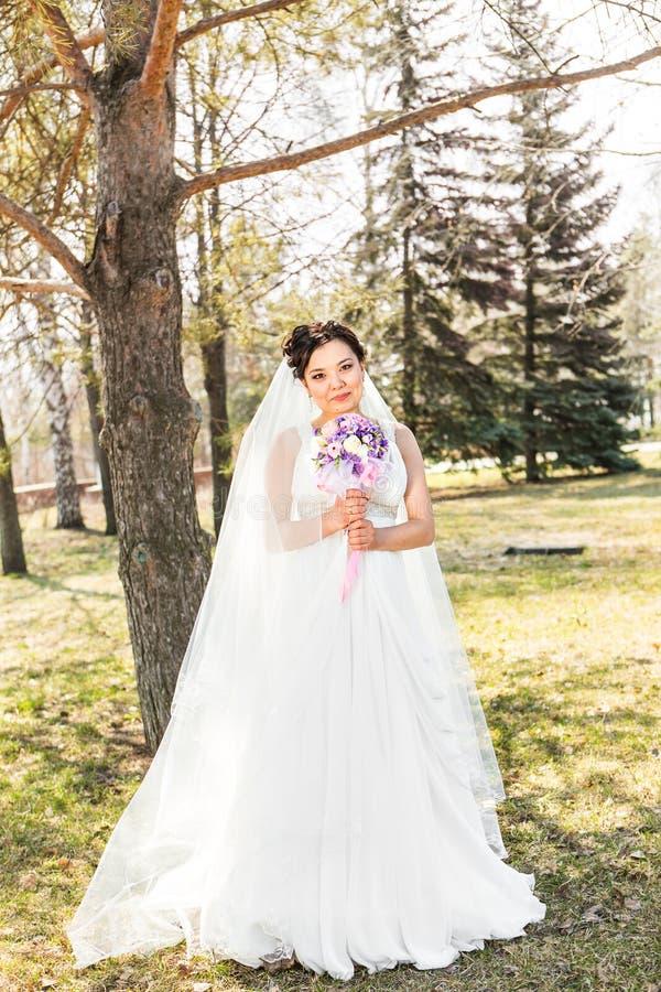 Noiva moreno nova no parque na natureza com imagens de stock