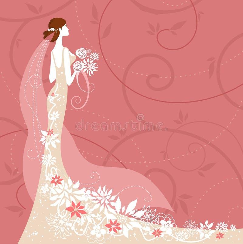 Noiva no fundo cor-de-rosa ilustração do vetor
