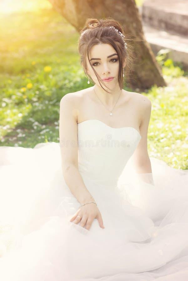 Noiva no parque Dia do casamento, sol obscuro verão imagem de stock royalty free