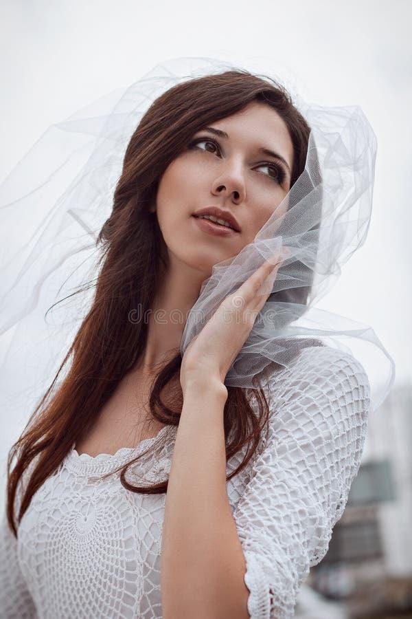 Noiva no véu e no vestido brancos Foto do casamento fotografia de stock
