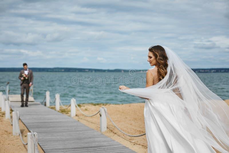 Noiva nova bonita, menina modelo moreno sensual no vestido de casamento à moda com um véu que que vibra no vento foto de stock royalty free