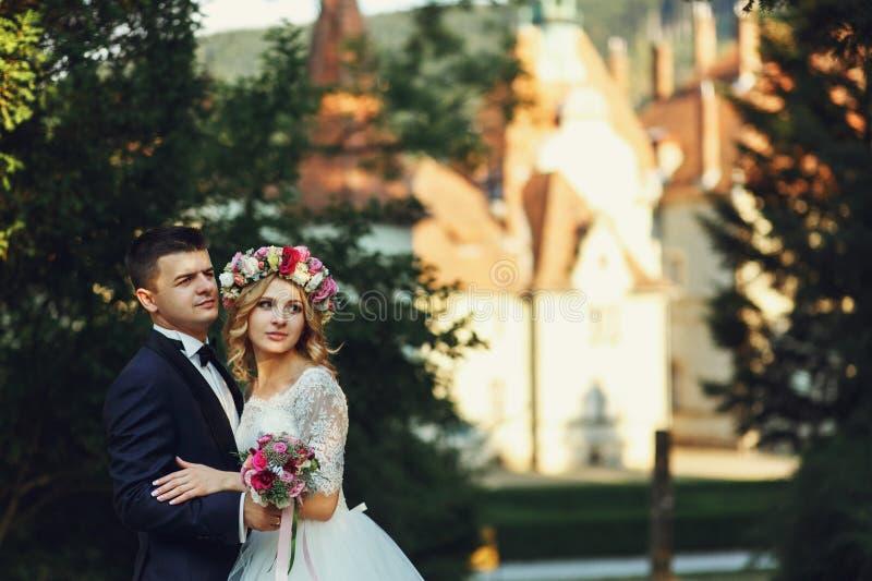 Noiva nova loura lindo e noivo encantador foto de stock