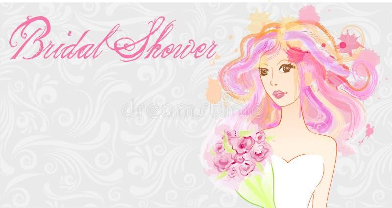 Noiva pintada sumário - convite nupcial do chuveiro ilustração stock