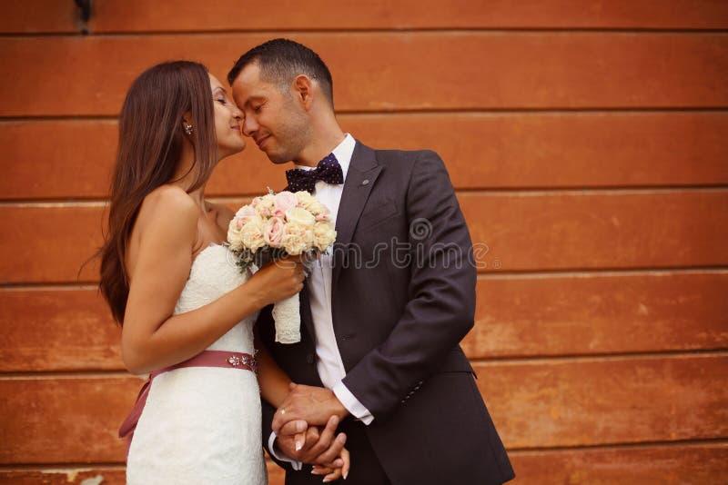 Noiva que beija seu noivo imagens de stock royalty free