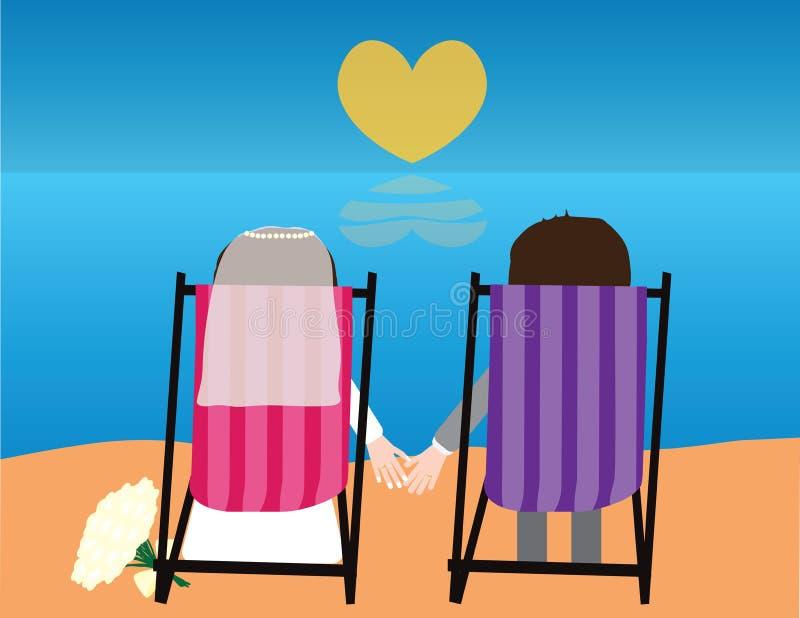 Noiva um noivo que senta-se nas cadeiras de praia que olham o mar ilustração royalty free