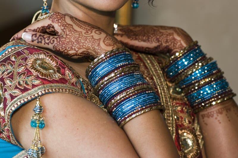 Noivas Hindu Jewlery & Henna fotos de stock