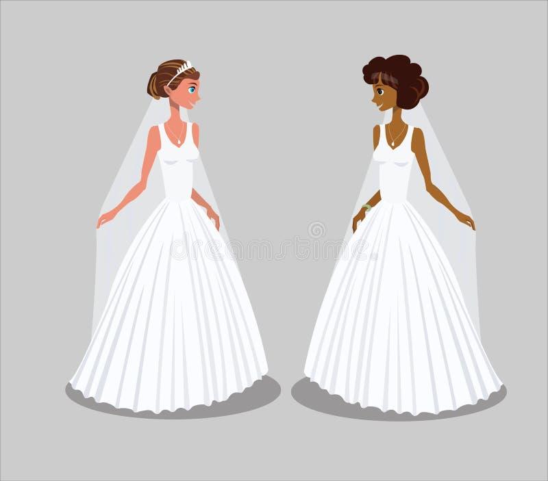 Noivas na ilustração do vetor dos vestidos de casamento ilustração stock