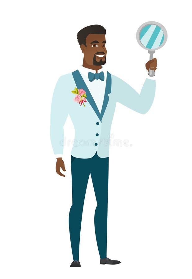 Noivo afro-americano que guarda o espelho de mão ilustração do vetor