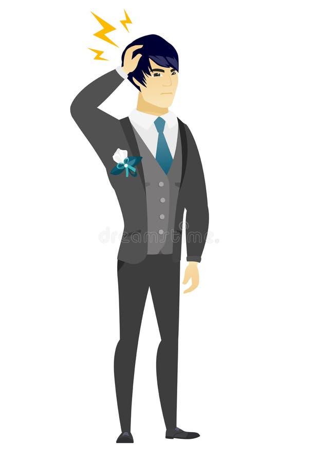 Noivo asiático com relâmpago sobre sua cabeça ilustração do vetor
