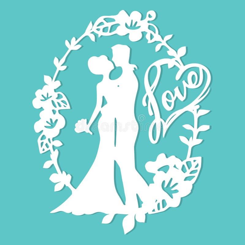 Noivo Bride Love Wreath do casamento da silhueta do vintage ilustração do vetor