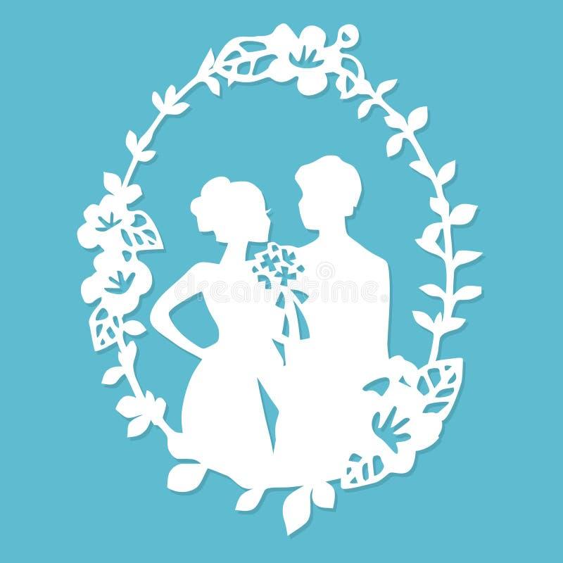 Noivo Bride Wreath Frame do casamento da silhueta do vintage ilustração stock