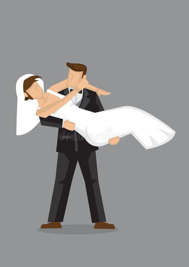 Noivo Carry Bride Vetora Character Illustration nupcial ilustração do vetor