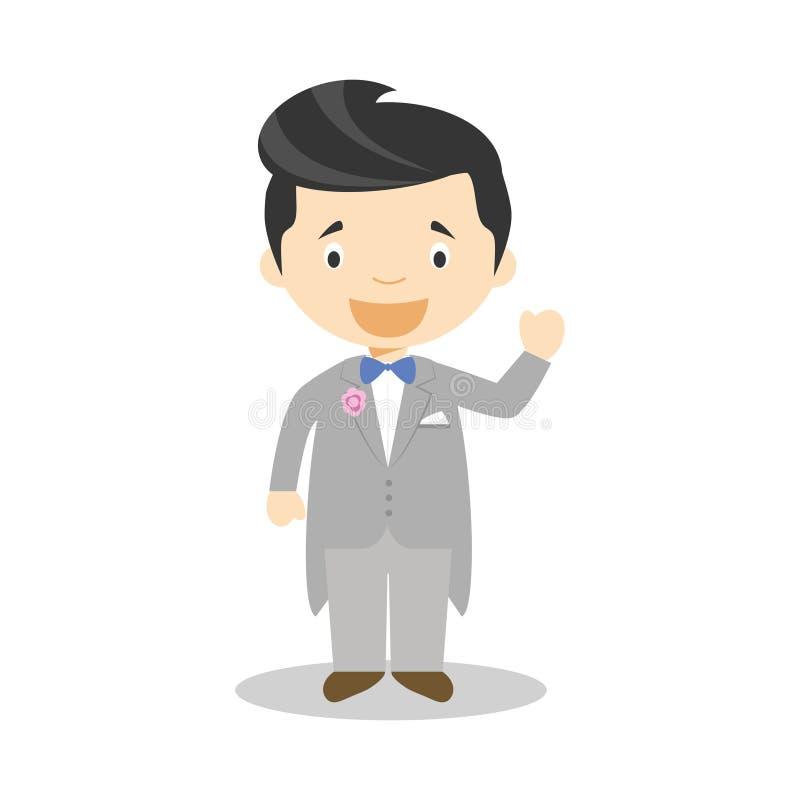 Noivo caucasiano que veste um smoking cinzento na ilustração do vetor do estilo dos desenhos animados ilustração stock
