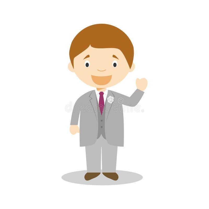 Noivo caucasiano que veste um terno cinzento na ilustração do vetor do estilo dos desenhos animados ilustração do vetor