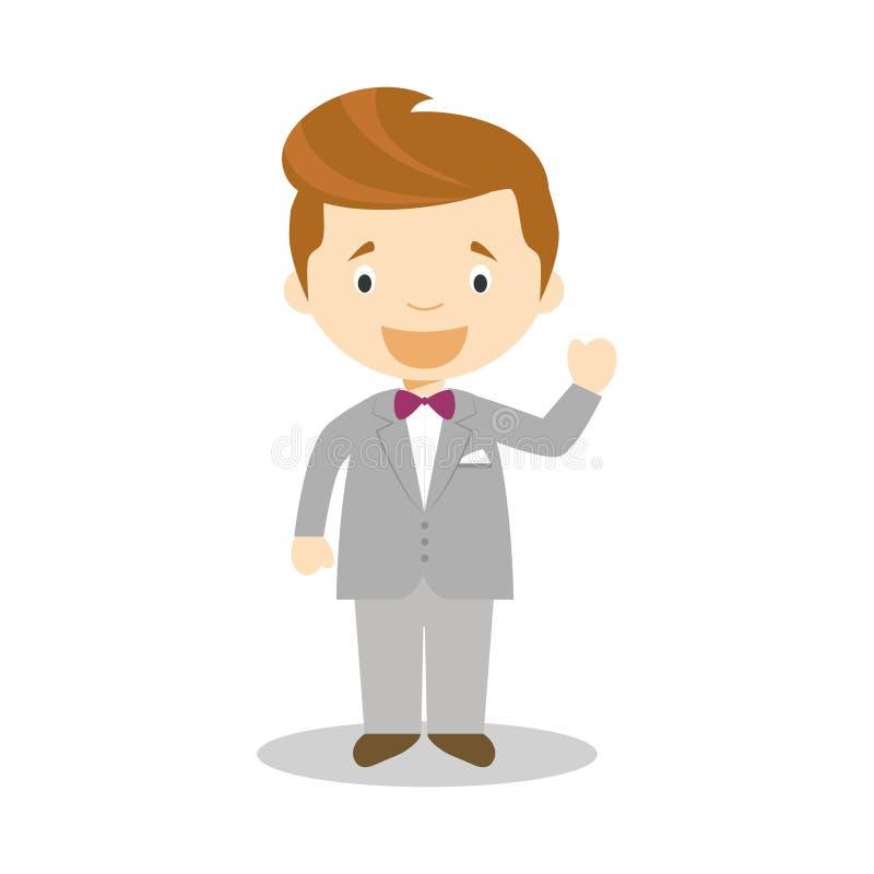 Noivo caucasiano que veste um terno cinzento na ilustra??o do vetor do estilo dos desenhos animados ilustração royalty free