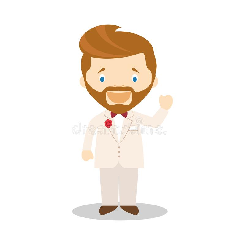 Noivo caucasiano que veste um terno de creme na ilustração do vetor do estilo dos desenhos animados ilustração do vetor