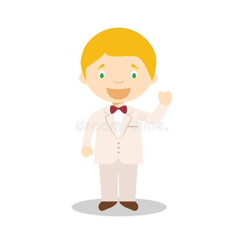Noivo caucasiano que veste um terno de creme na ilustração do vetor do estilo dos desenhos animados ilustração stock