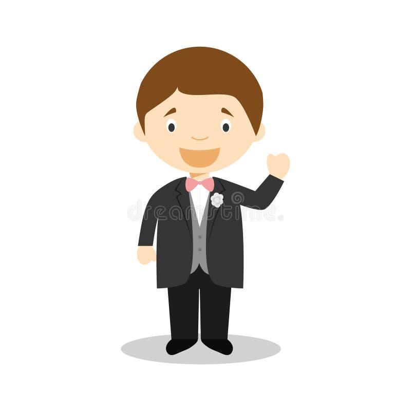 Noivo caucasiano que veste um terno preto na ilustração do vetor do estilo dos desenhos animados ilustração royalty free
