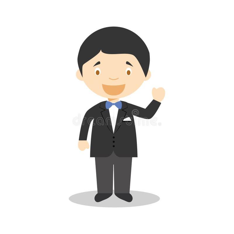 Noivo caucasiano que veste um terno preto na ilustração do vetor do estilo dos desenhos animados ilustração do vetor